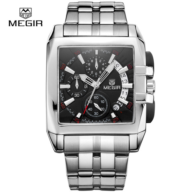 MEGIR Relógio Cronógrafo de Aço Inoxidável Dos Homens 6 Mãos Relógios Homens Marca De Luxo Negócio Relógio de Quartzo-Relógio Quadrado Megir 2018