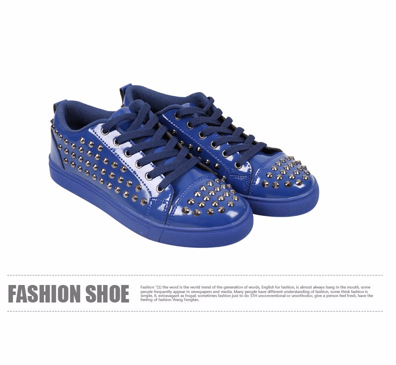 Fashion Patent Leather Men\'s Loubuten Shoes Zapatillas Superstar Casual Low Top Rivets Men Shoes Size 39-44 Round Toe Flats F13 (13)