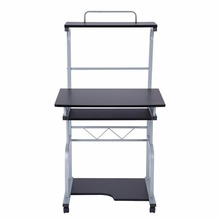 Portable Wooden Computer Desk Rolling Mobile Stand Workstation Laptop Table for Home Use Bookshelf Combination Storage Rack
