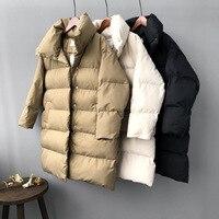 Mooirue 2019 Winter Harajuku Streetwear Overcoat long coat Woman Love Long Down Cotton 3/4 Sleeve New Bodycon Cotton parka