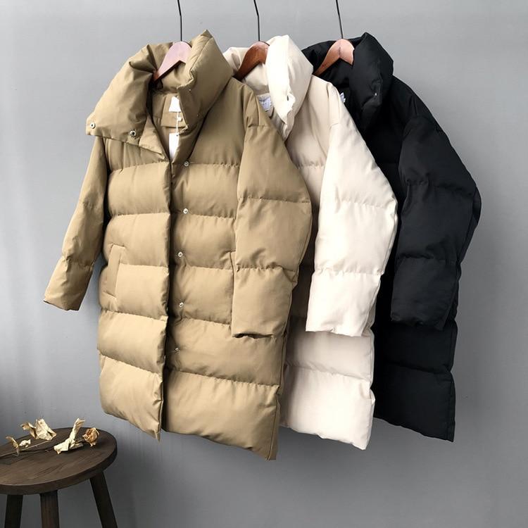 Mooirue 2019, зимняя уличная одежда в стиле Харадзюку, длинное пальто для женщин, длинный пуховик из хлопка с рукавом 3/4, новая облегающая хлопковая парка