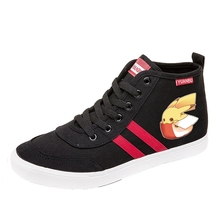 Amusing Pikachu Cartoon pattern Funny high top breathable canvas uppers sneakers student personalise fashionCasual shoes