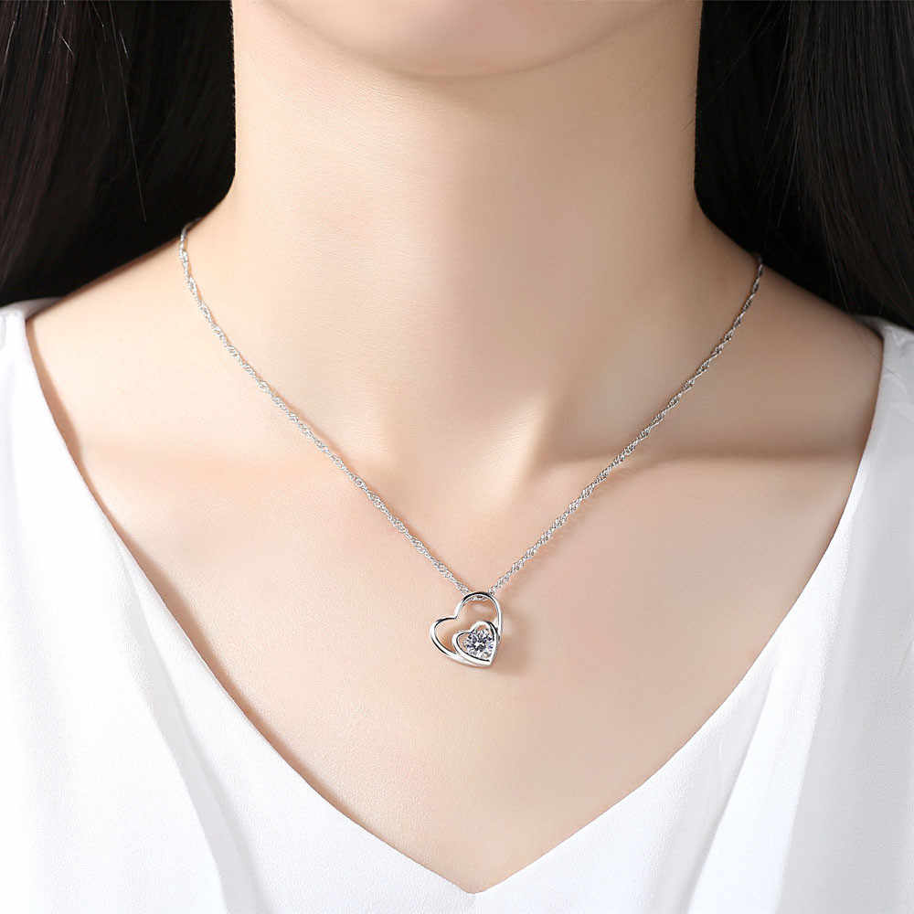 2018 Fashion Women Necklace Double Heart Choker Pendant Necklace Chain Jewelry Ornaments Jewelries Torque Flawless Necklace
