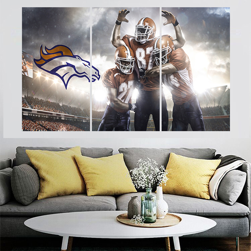 3 Pcs Sports Poster Broncos Team Paintings Wall Home Decor