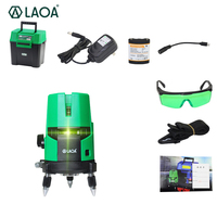 LAOA Li ion 2/3/5 laser lines 360 degrees rotary 635nm auto level Laser Level with outdoor mode receiver and tilt slash OK