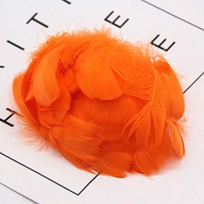 Натуральные перья лебедя 4-7 см 1-2 дюйма маленькие плавающие Шлейфы гусиное перо цветной шлейф для украшения рукоделия 100 шт - Цвет: orange 100pcs