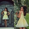 Luz mullido Amarillo Corto de Encaje Vestidos de Baile 2016 El Último Diseño de Vestidos Cortos De Gala Mujeres Atractivas Formales Vestidos de Partido Backless