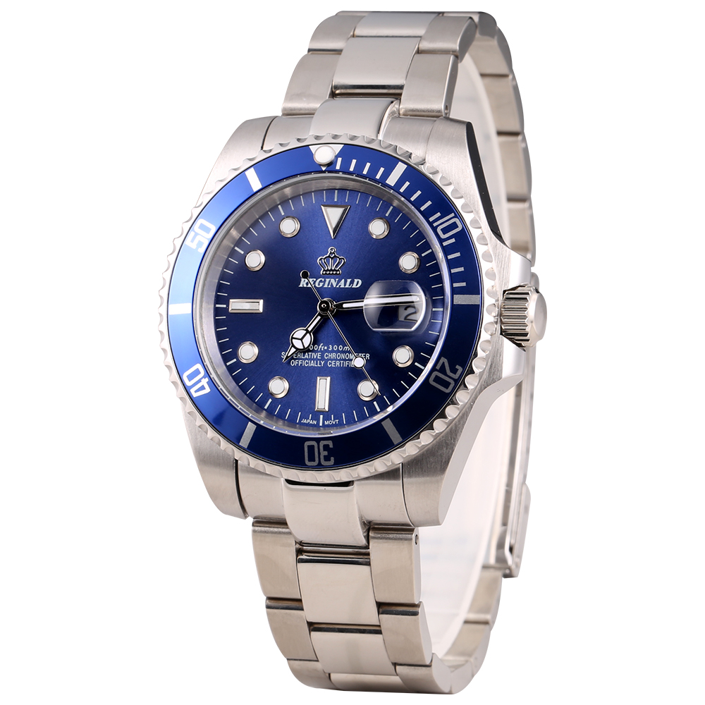 REGINALD Watch Men GMT Rotatable Bezel Japan Miyota 2115 Movt Full Stainless Steel Quartz Watches Relogio Masculino