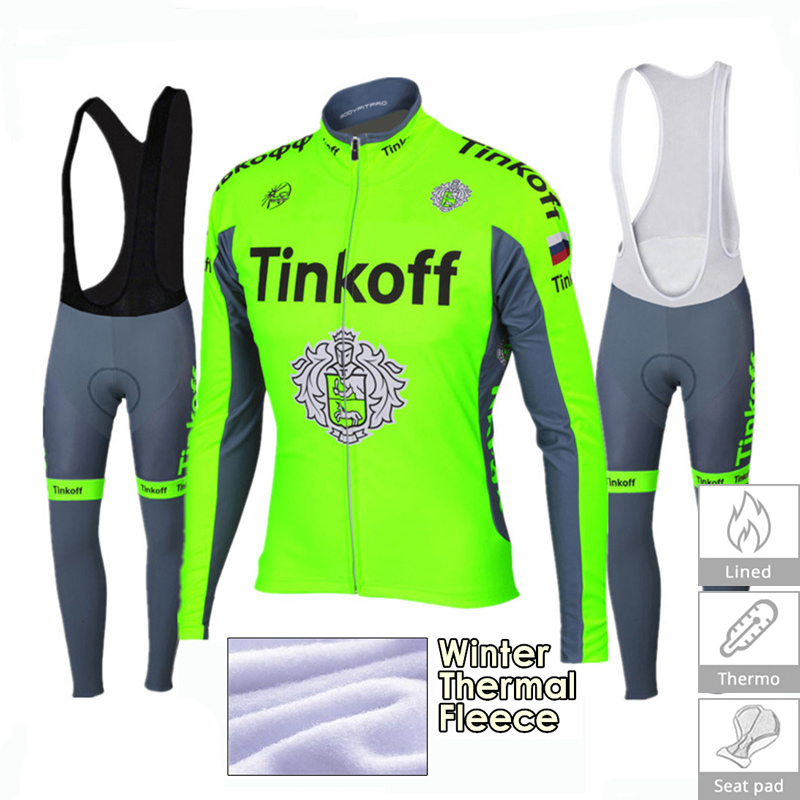 Cycling Clothing 2018 Pro Team Tinkoff Men Winter Thermal Fleece Cycling Jersey 9D Gel Pad Bib Pants Kit Ropa Ciclismo Invierno
