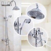 Роскошные Ванная комната набор для душа настенное крепление для душа смеситель w/дождь Насадки для душа и ручной душ Chrome ML8502