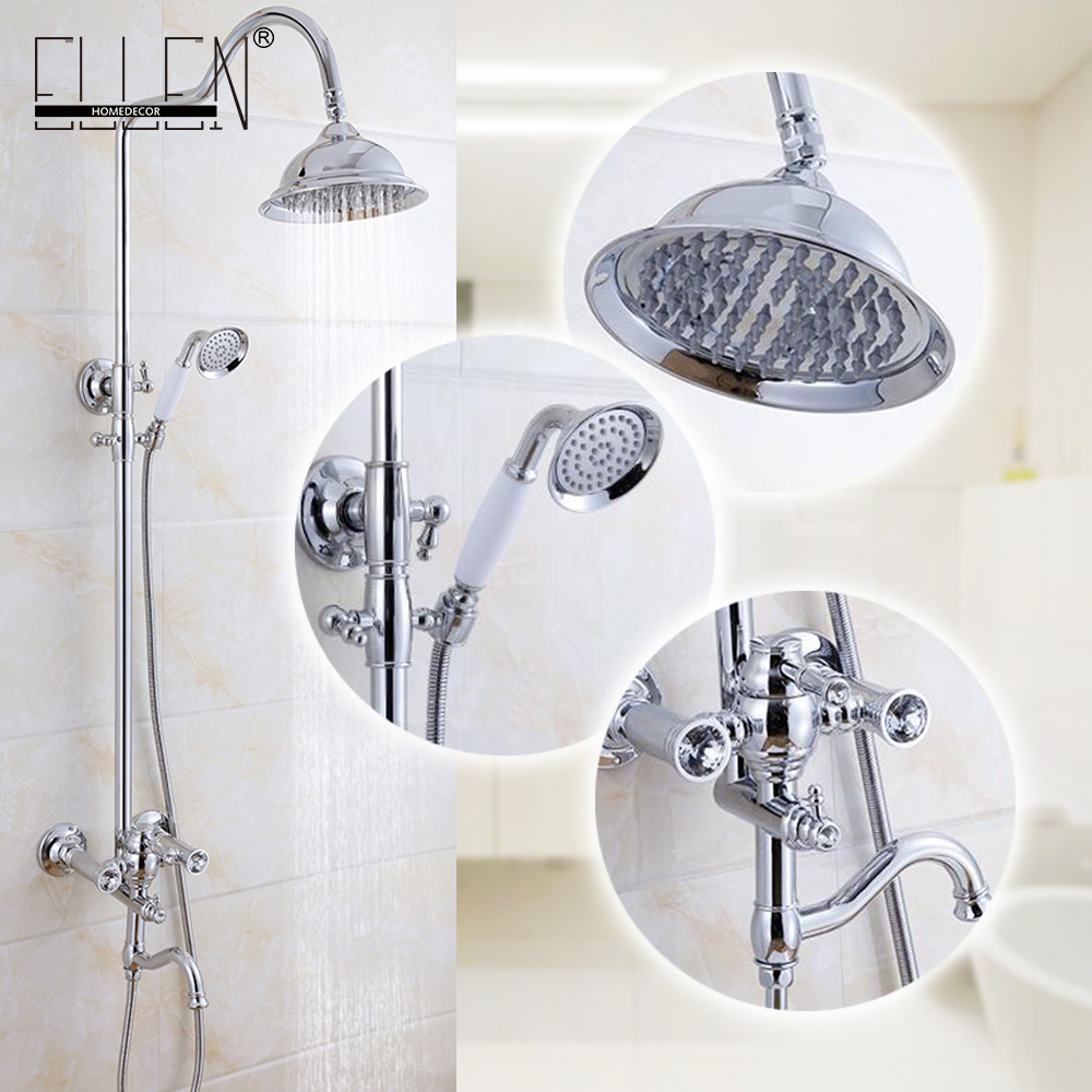 цена на Luxury Bathroom Shower Set Wall Mount Shower Faucet Mixer Tap w/ Rain Shower Head & Handheld Shower Chrome Finished ML8502