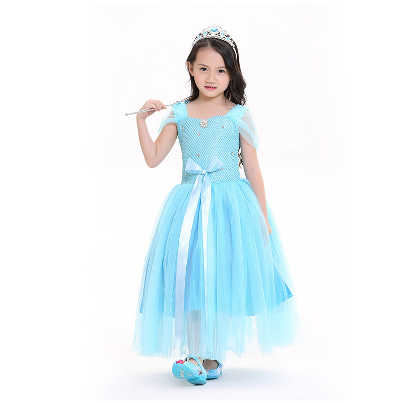 Vocole Childen Movies Elsa Anna Princess Dress Cosplay Clothing Halloween Cinderella Girls Costumes Fairy Stage Fancy Dress