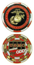 Custom coins low price MARINE CORPS POKER CHIP WE MAKE THE ODDS CHALLENGE COIN oem metal milirary FH810238