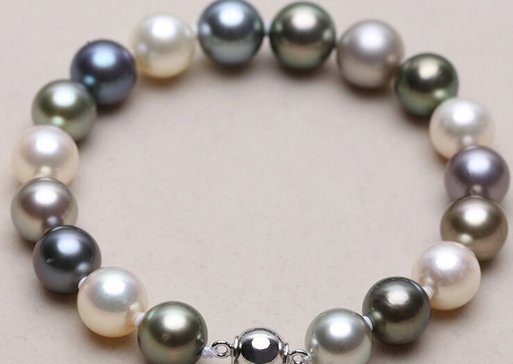 "mm natural south sea genuine white black round pearl bracelet 7.5-8"" AAA 09"