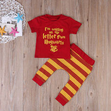US STOCK 2pcs Baby Set Toddler Infant Baby Boy Girl Clothes Summer Red Short Sleeve Harry Potter T-shirt +Striped Pant Hot(China (Mainland))