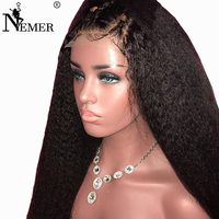 Nemer 250% Density 360 Lace Frontal Human Hair Wig Brazilian Kinky Straight Remy Wig Black for Women Pre Plucked with Baby Hair