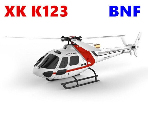 (WIth two batteries ) XK K123 BNF 1 (Without remote control)  6CH Brushless AS350 3D6G System RC Helicopter