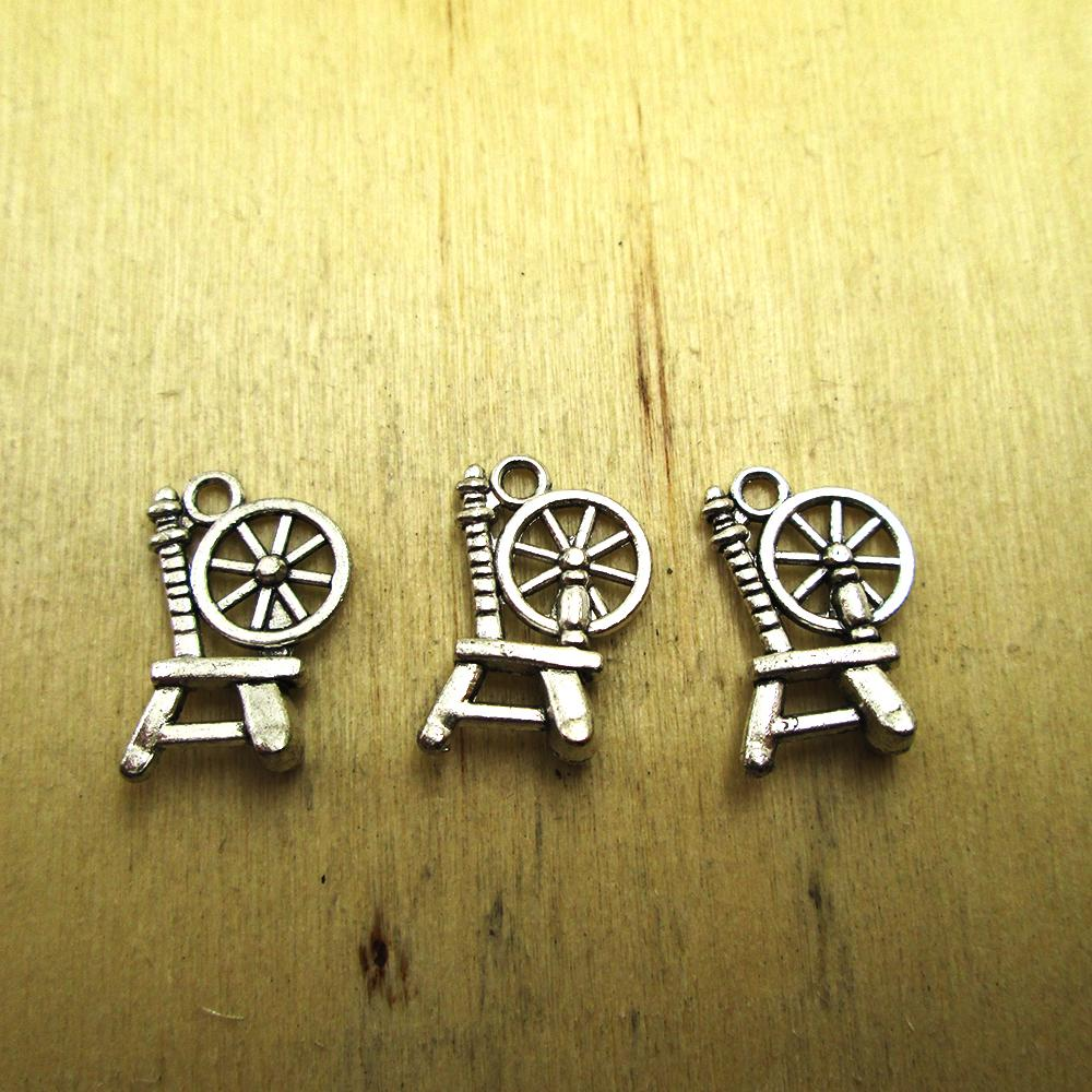 30pcs 20mm X14mm Spinning Wheel Charms Pendants   DIY Necklace/ Bracelets  Charms Antique Silver Tone