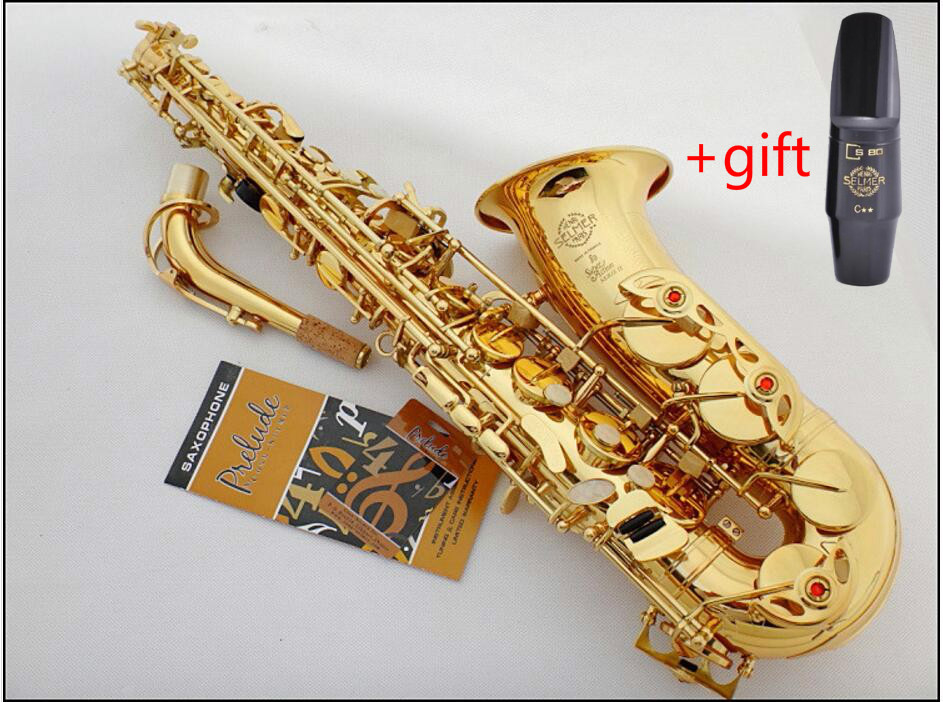 France Selmer 802 Musical Instruments Alto saxophone Eb Gold Lacquer Sax Saxofone Complete accessories +gift selmer mouthpiece new 2017 senior french brand conn selmer black lacquer alto saxophone e as 710 matt encarved alto sax with mouthpiece