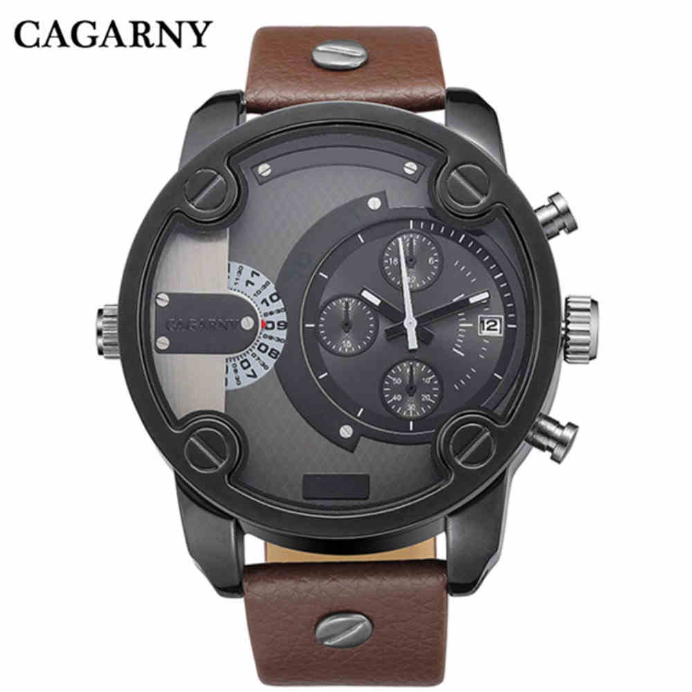 New Men Watches Top CAGARNY Brand Luxury Leather Strap Big Dial Fashion Sport Watches For Men Cheap Watch Daddyn 0150