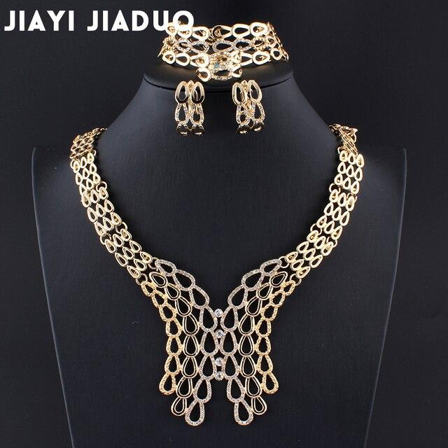 Jiayijiaduo moda Popular boda Africana cuentas de joyería conjunto para las mujeres encanto oro-color collar pendientes accesorios vestido nuevo
