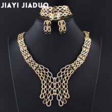 jiayijiaduo Popular fashion wedding african beads jewelry set for charm women Gold-color Necklace earrings Dress accessories new