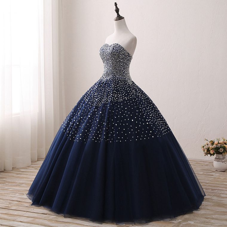 Bleu marine Quinceanera robes Stock robe de bal perlée chérie Abiti Da Quinceanera Vestido Debutante 15 Anos livraison gratuite - 3