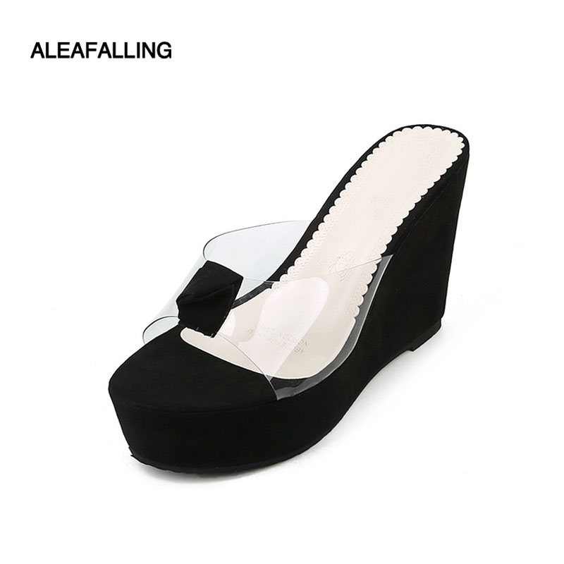Aleafalling 2018 New Arrival Summer Women Wedges Slipper Super Fashion Girl's Slipper Soft Eva Super High Heel 11cm Bottom super slipper taipei