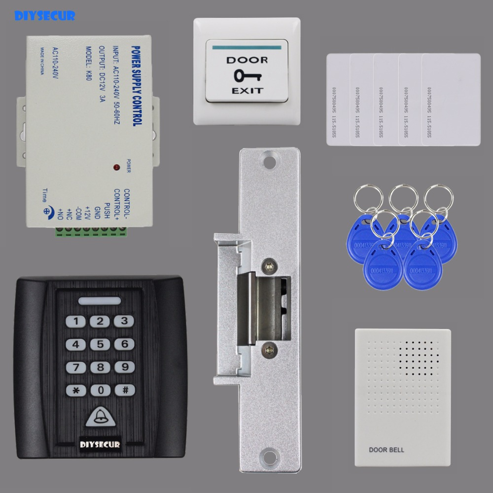 DIYSECUR Door Bell 125KHz RFID Reader Password Keypad Access Control System Security Kit + Strike Lock + Power Supply KS158 diysecur 125khz rfid metal case keypad door access control security system kit electric strike lock power supply 7612