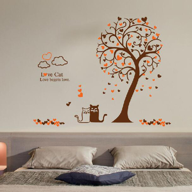 Love cat tree wall sticker tree vinyl wall decal adesivi murali glass film window stickers home