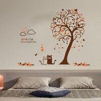 Miłość kot drzewa naklejki ścienne drzewo vinyl kalkomania ścienna adesivi murali szkło okienne folia naklejki home decoration wall art tapety