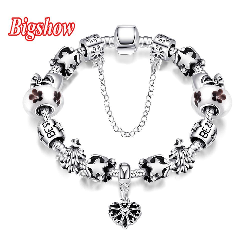 Silver Plated Snake Chain Glass Beads Pan Punk Style Best Friend Bracelet  Women Jewelry Hear Pendant