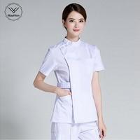 Summer women hospital medical scrub clothes set sale design slim fit dental scrubs beauty salon nurse uniform spa Multi pocket
