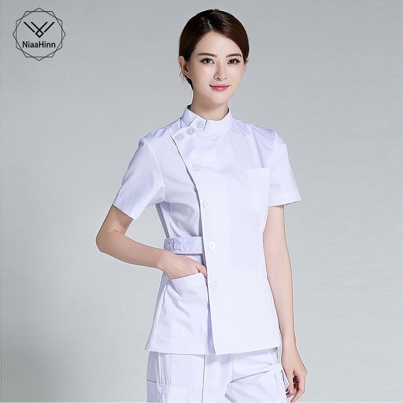 Summer Women Hospital Medical Scrub Clothes Set Sale Design Slim Fit Dental Scrubs Beauty Salon Nurse Uniform Spa Multi-pocket