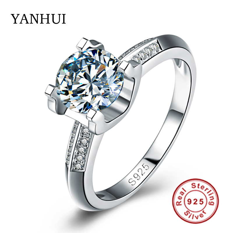 Aliexpress Buy Big Sale Real Solid Silver Ring Set 1 Carat Sona CZ Diam