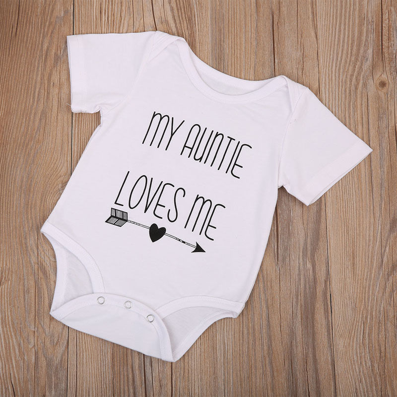 d49cd69b65d1 My Auntie Love Me Baby Boy Girls Hot Letter White Short Sleeve Romper  Playsuit Jumpsuit Cotton Clothes Outfits-in Rompers from Mother   Kids on  ...