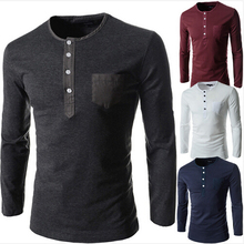 FGGS Solid color Plus Size round neck Men Long Sleeve Cotton  Fitness men's Undershirt