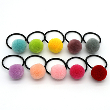 20Pcs/lot Colored Pompom Balls Elastic Hair Ties Girls Ponytail Holder Kids Bands Accessories