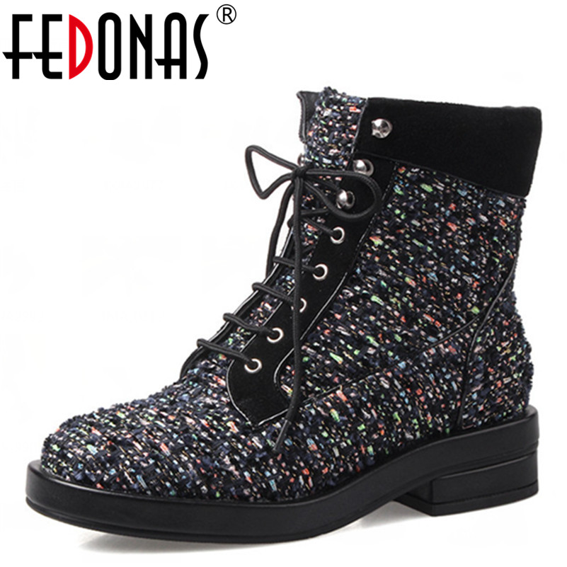 FEDONAS High Quality Wool Cloth Ankle Boots Women Sexy Square Heels Autumn Winter Warm Sexy Motorcycle Snow Boots Shoes Woman new high quality genuine leather boots rivets square heels autumn winter ankle boots sexy fur snow boots shoes woman size