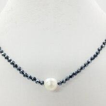 """Очаровательная! 4 мм кристалл, белый жемчуг, ожерелье, самое классическое летнее романтическое пляжное ожерелье 18"""""""