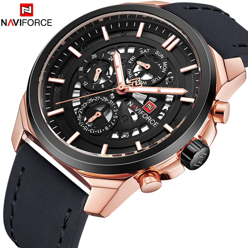 NAVIFORCE Men's Fashion Sport Watches Men Quartz Analog Date Clock Man Leather Army Military Waterproof Watch Relogio Masculino цена и фото