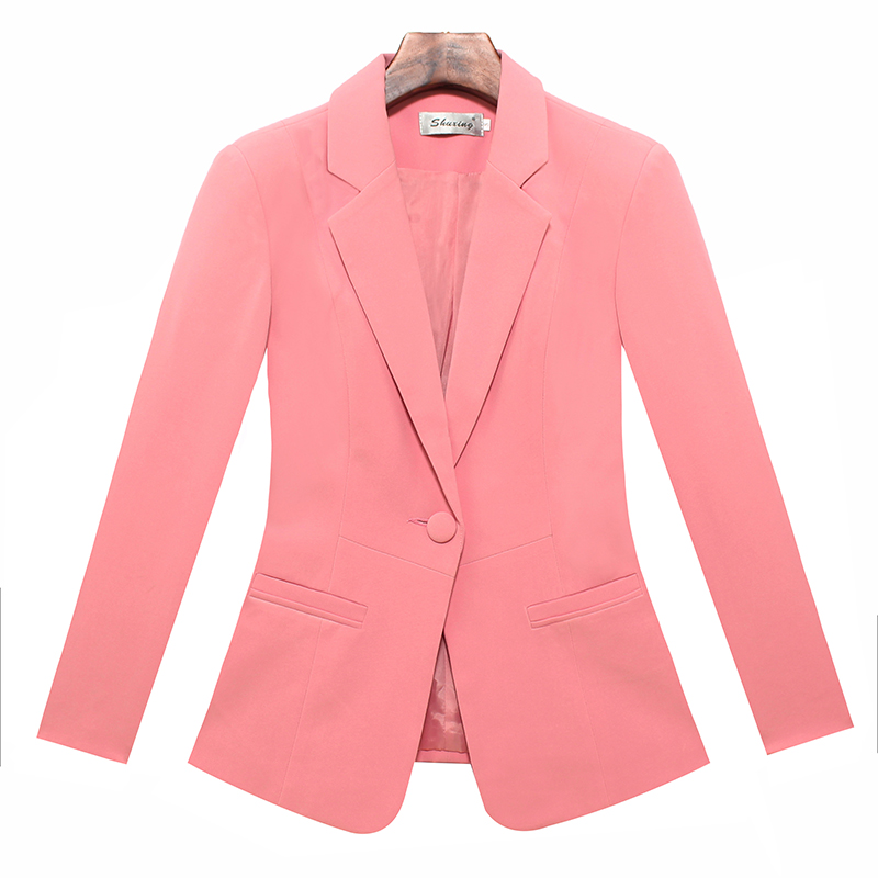 Big Code S-5XL New 2019 Women Long-Sleeved Blazers Jackets Blazer Candy Color Slim Suit Small Coat Fashion Outwear Cardigans T
