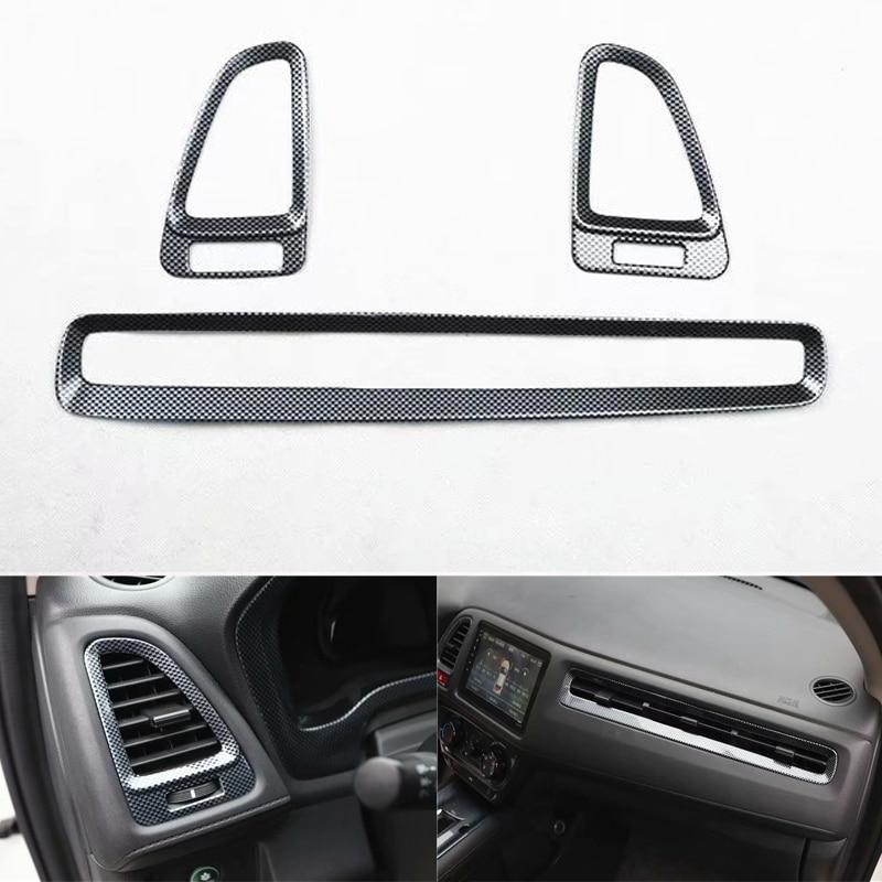 Accessoires de voiture de Style de Fiber de carbone d'abs de 3 pièces/ensemble pour la garniture d'autocollants de cadre d'évent de tableau de bord avant de voiture de Honda Vezel HRV 2015-2017
