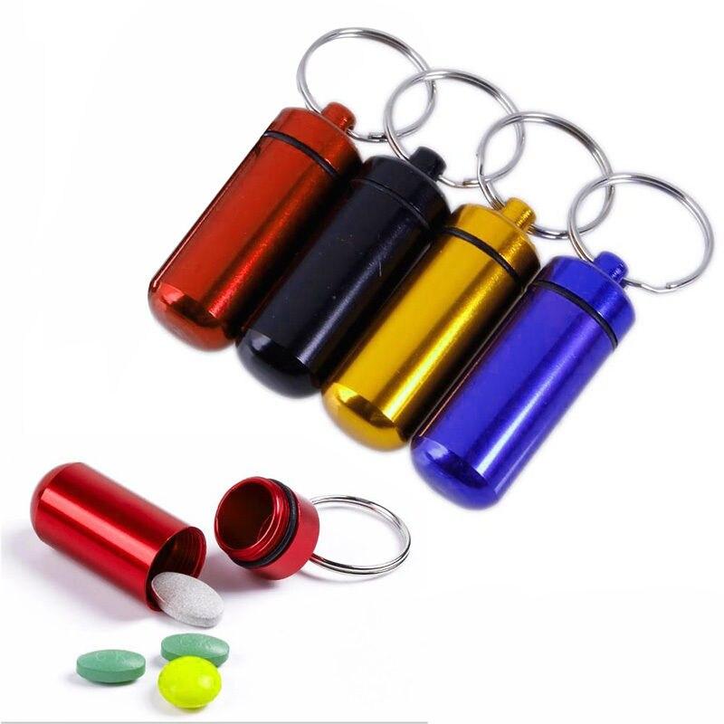 New Waterproof Aluminum Mini Pill Box Case Bottle Drug Holder Keychain Container Medicine Box Health Care