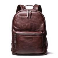 Nesitu Vintage Coffee Brown Vegatable Tenned Full Grain Genuine Leather 15.6'' Laptop Women Men Backpacks Travel Bag M88120