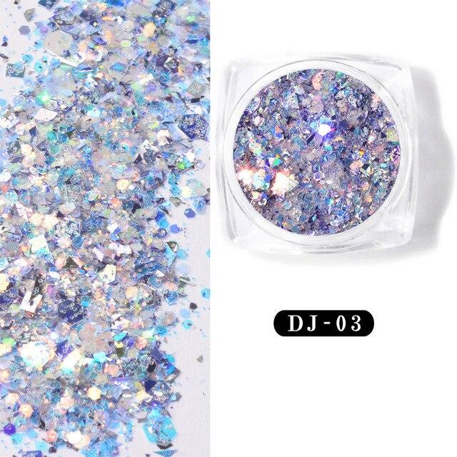 12-צבע הניצוץ אור בצל דק אבקה נייל גליטר פאייטים SK88 אופנה צבעוני גליטר אקריליק אבקות