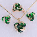 Lovely Yellow Gold Plated Green Imitation Emerald Jewelry Sets for Women SH0037