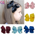 """30 Pcs/lot 6"""" Solid Ribbon Knotted Hair Bow With Clip For Baby Kids Girls Handmade Boutique Hair Accessories With Clip Headwear"""