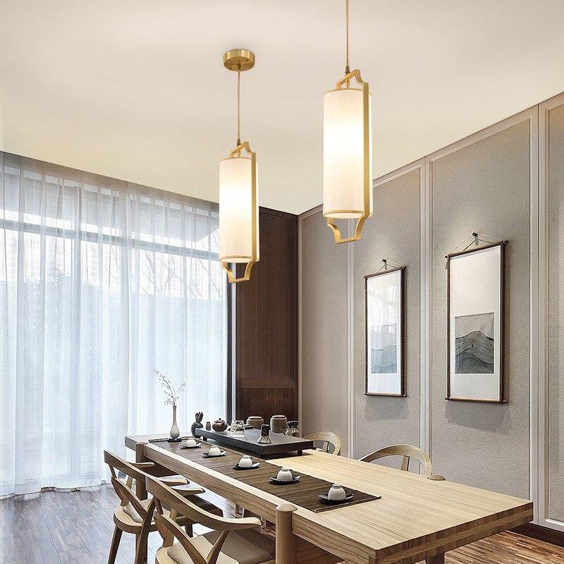 Tête unique Style néo-chinois cuivre tissu Art allée Restaurant lustre lumière Simple porche Bar comptoir balcon déco lampe à LED
