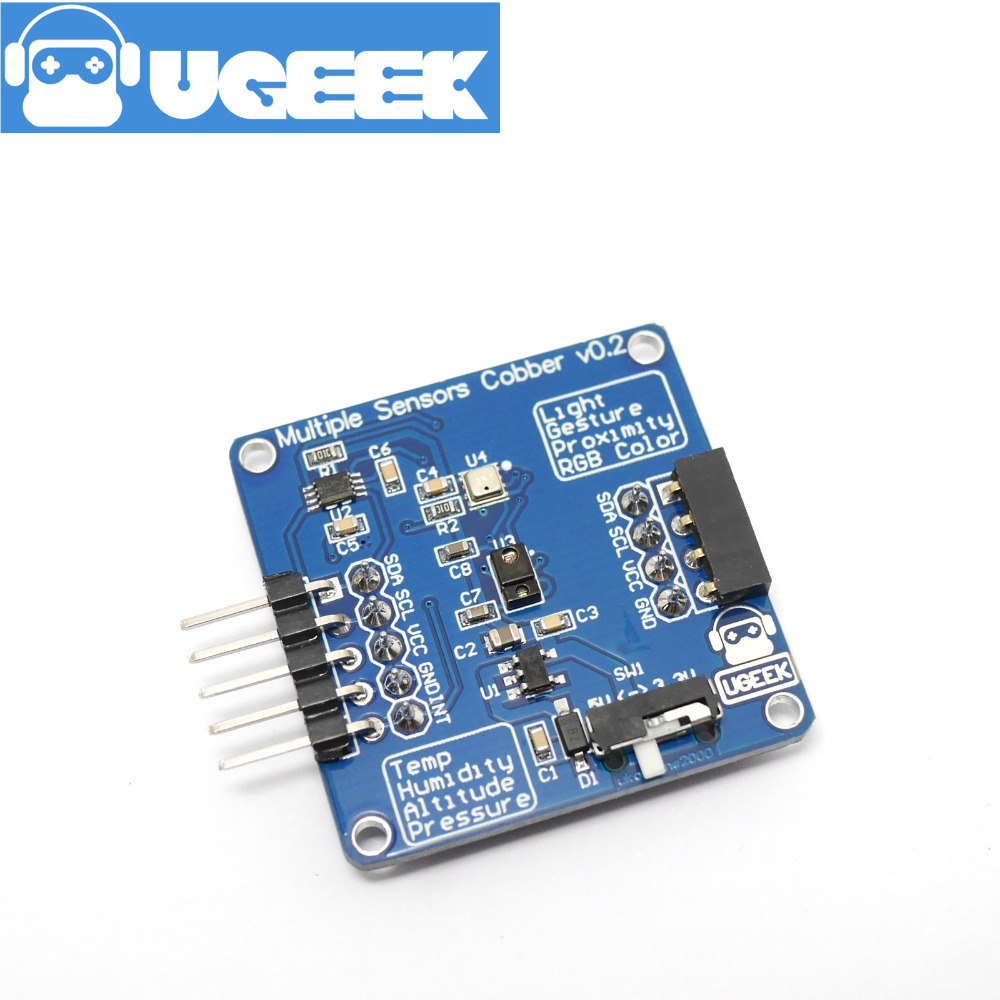 UGEEK Multiple Sensors Cobber|Temperature,Humidity,Altitude,Pressure,Light,Gesture,Proximity,RGB Color For Raspberry Pi 3B+ 3B